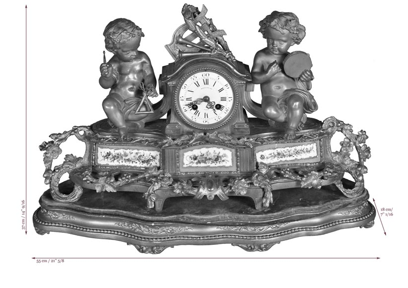 MIROY Frères - Beautiful antique clock with musicians putti -8