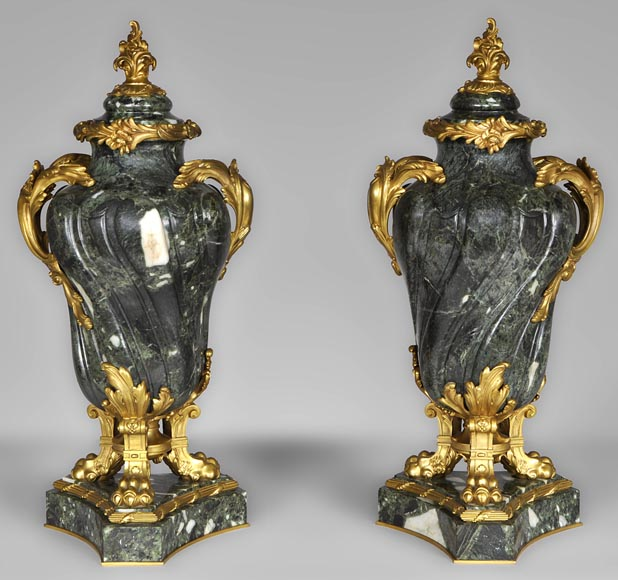 François LINKE (1855-1946) (Att. to), A pair of ormolu-mounted Green Antique marble vases-0