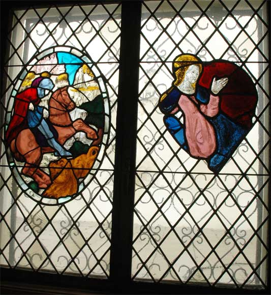 Two stained glasses elements with knight in armor-0