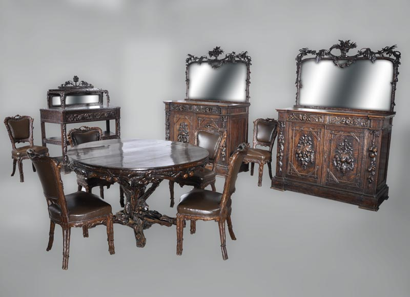 "Matthew (1815-1889) and Willem (1816-1881) HORRIX (attrib. to) Important dining room set in ""Black Forest"" style-0"