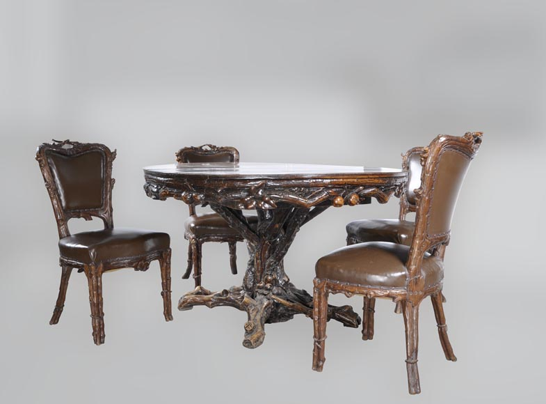 "Matthew (1815-1889) and Willem (1816-1881) HORRIX (attrib. to) Important dining room set in ""Black Forest"" style-3"