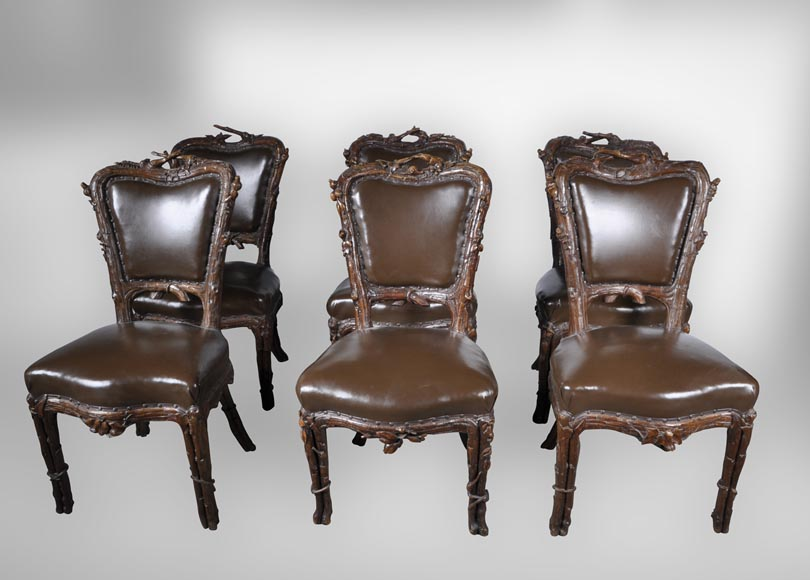 "Matthew (1815-1889) and Willem (1816-1881) HORRIX (attrib. to) Important dining room set in ""Black Forest"" style-4"