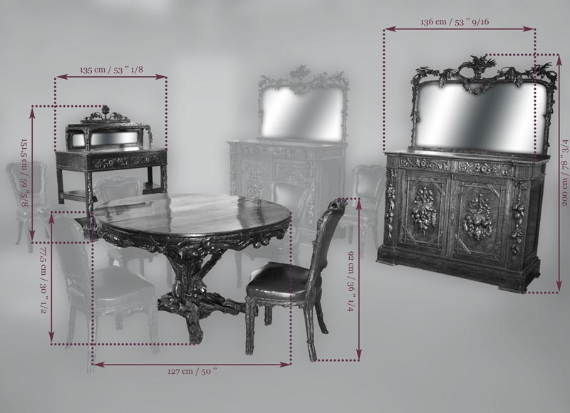"Matthew (1815-1889) and Willem (1816-1881) HORRIX (attrib. to) Important dining room set in ""Black Forest"" style-17"