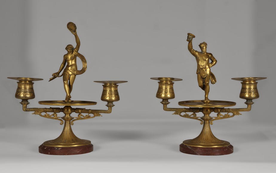 """The Bacchanal"", pair of gilded bronze and Red Griotte marble candlesticks-0"
