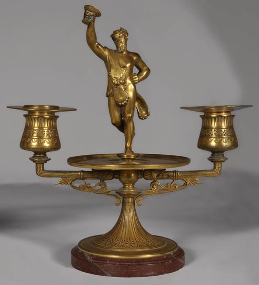 """The Bacchanal"", pair of gilded bronze and Red Griotte marble candlesticks-1"