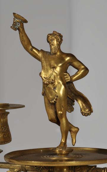 """The Bacchanal"", pair of gilded bronze and Red Griotte marble candlesticks-2"