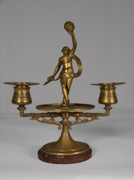 """The Bacchanal"", pair of gilded bronze and Red Griotte marble candlesticks-4"