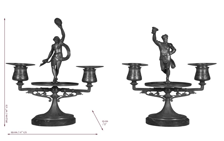 """The Bacchanal"", pair of gilded bronze and Red Griotte marble candlesticks-8"