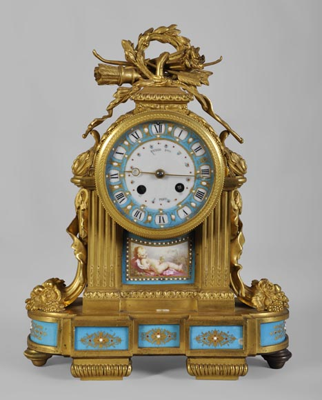 "RAINGO FRÈRES (Paris, 1813), Clock with ""bleu céleste"" porcelain plate, Louis XVI style-0"