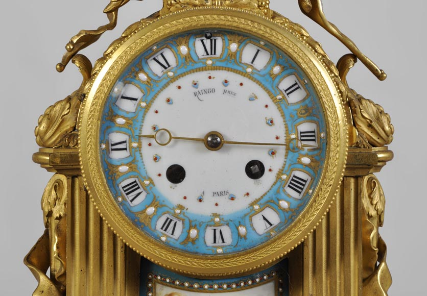 "RAINGO FRÈRES (Paris, 1813), Clock with ""bleu céleste"" porcelain plate, Louis XVI style-1"