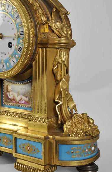 "RAINGO FRÈRES (Paris, 1813), Clock with ""bleu céleste"" porcelain plate, Louis XVI style-3"