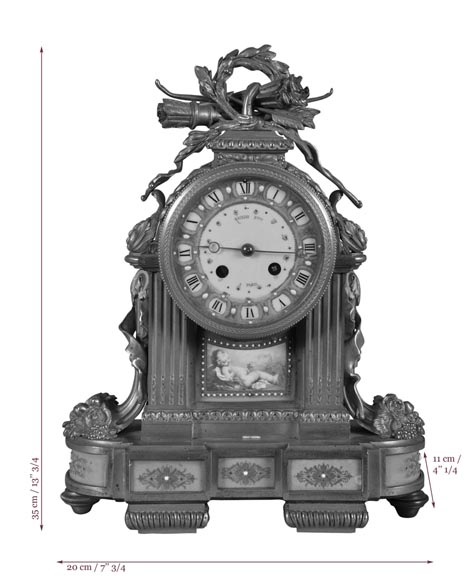"RAINGO FRÈRES (Paris, 1813), Clock with ""bleu céleste"" porcelain plate, Louis XVI style-8"