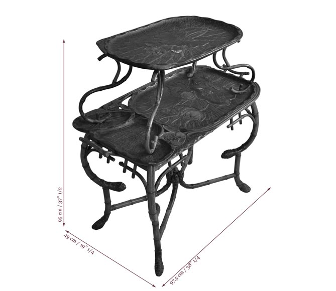 DAÏ NIPPON - Japanese style bamboo tea table with engraved and lacquered decor-10
