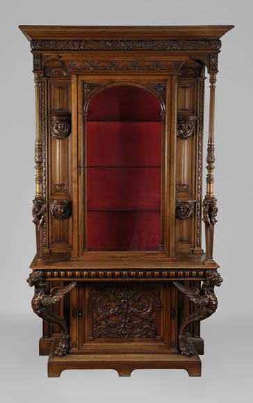 BELLANGER, cabinetmaker - Neo-Renaissance style display cabinet made out of carved walnut with chimeras decor-0