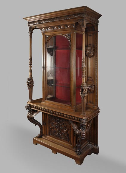 BELLANGER, cabinetmaker - Neo-Renaissance style display cabinet made out of carved walnut with chimeras decor-1