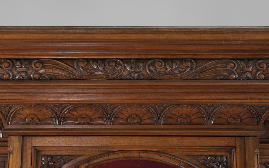 BELLANGER, cabinetmaker - Neo-Renaissance style display cabinet made out of carved walnut with chimeras decor-2