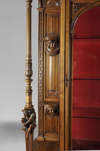 BELLANGER, cabinetmaker - Neo-Renaissance style display cabinet made out of carved walnut with chimeras decor-3