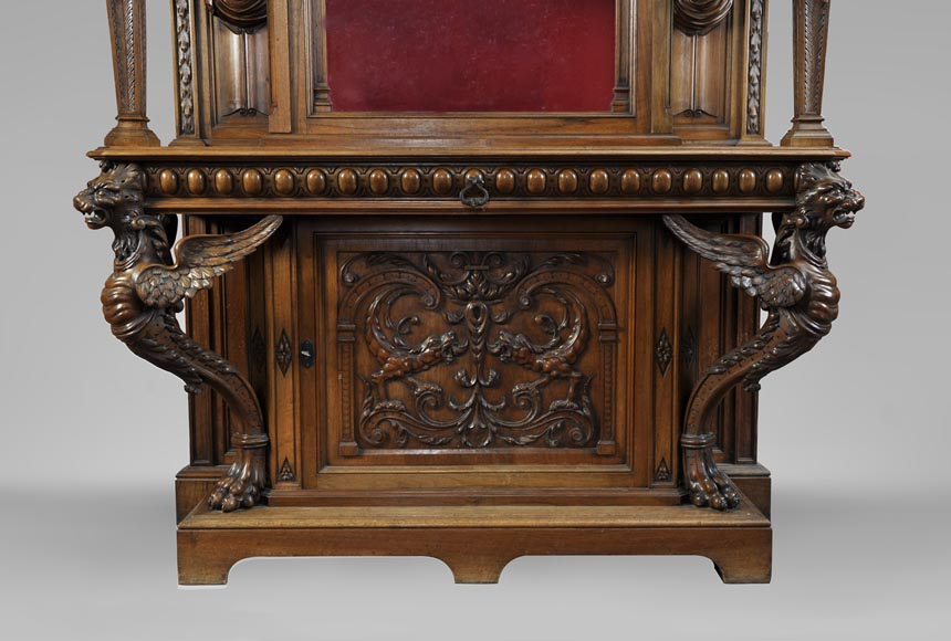 BELLANGER, cabinetmaker - Neo-Renaissance style display cabinet made out of carved walnut with chimeras decor-6