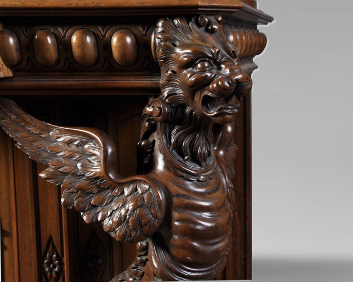 BELLANGER, cabinetmaker - Neo-Renaissance style display cabinet made out of carved walnut with chimeras decor-7