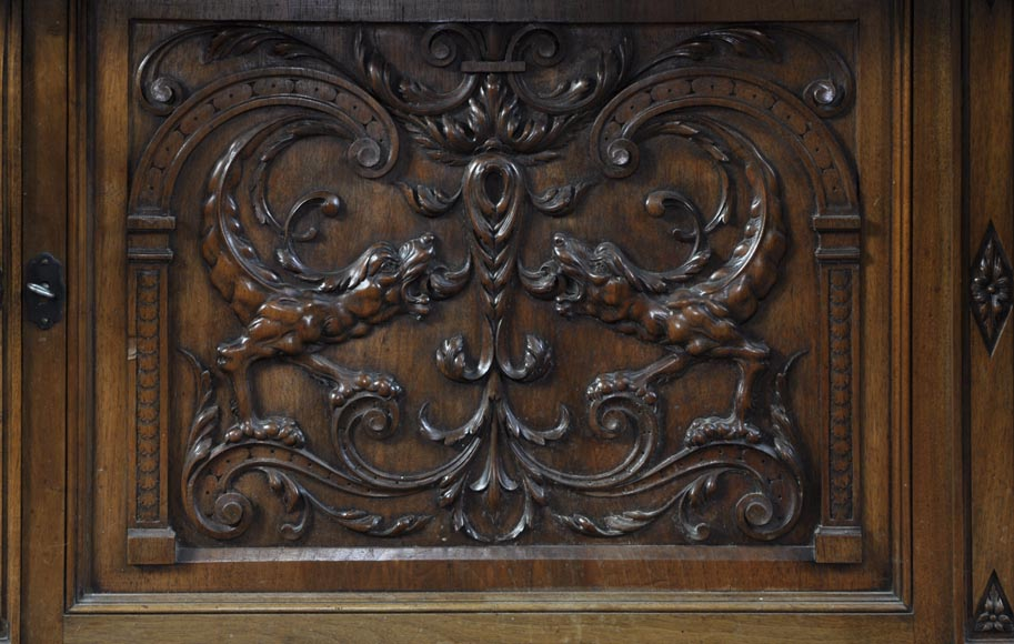BELLANGER, cabinetmaker - Neo-Renaissance style display cabinet made out of carved walnut with chimeras decor-8