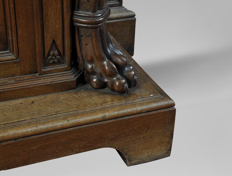 BELLANGER, cabinetmaker - Neo-Renaissance style display cabinet made out of carved walnut with chimeras decor-9