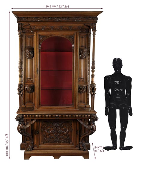 BELLANGER, cabinetmaker - Neo-Renaissance style display cabinet made out of carved walnut with chimeras decor-11