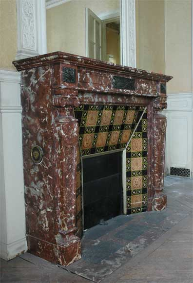 Antique Napoléon III style mantel in Rouge du Nord marble-2