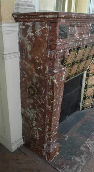 Antique Napoléon III style mantel in Rouge du Nord marble-3
