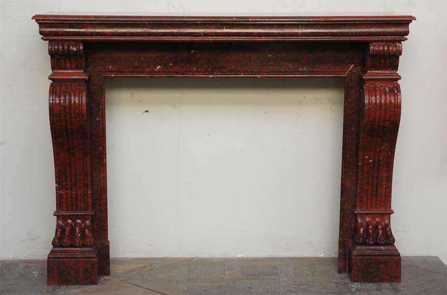Antique Restoration Style Fireplace In Red Griotte Marble Marble