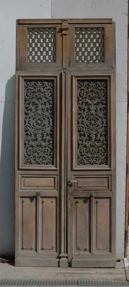 Large Antique Double Door With Ironwork Decoration Doors