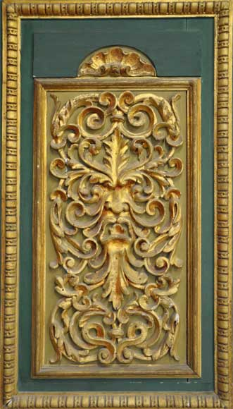 Pair of green doors with a gilded wooden decoration-1