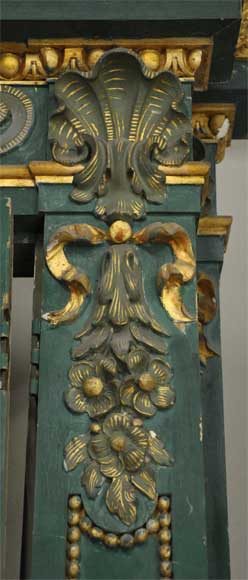 Pair of green doors with a gilded wooden decoration-4