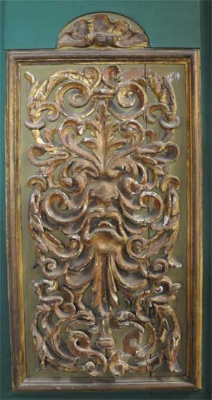 Pair of green doors with a gilded wooden decoration-5
