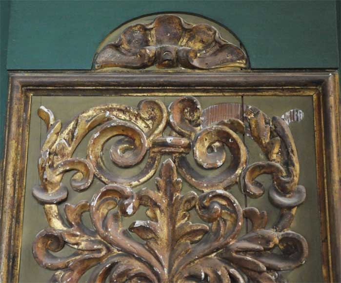Pair of green doors with a gilded wooden decoration-6