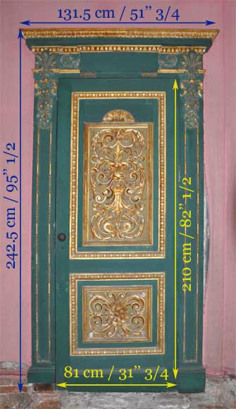 Pair of green doors with a gilded wooden decoration-10