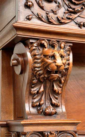 Antique walnut fireplace with grotesques and lions heads decoration-3