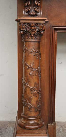 Antique walnut fireplace with grotesques and lions heads decoration-5