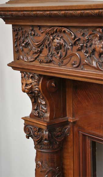 Antique walnut fireplace with grotesques and lions heads decoration-6