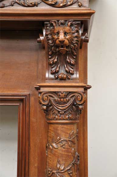 Antique walnut fireplace with grotesques and lions heads decoration-8
