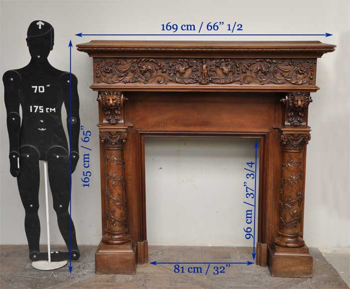 Antique walnut fireplace with grotesques and lions heads decoration-10