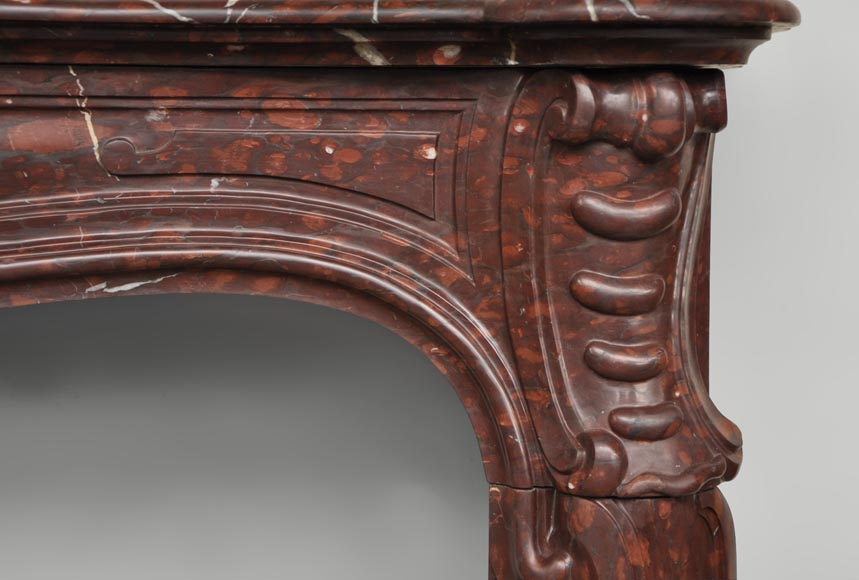 Antique Louis XV style fireplace in Red Griotte marble-5