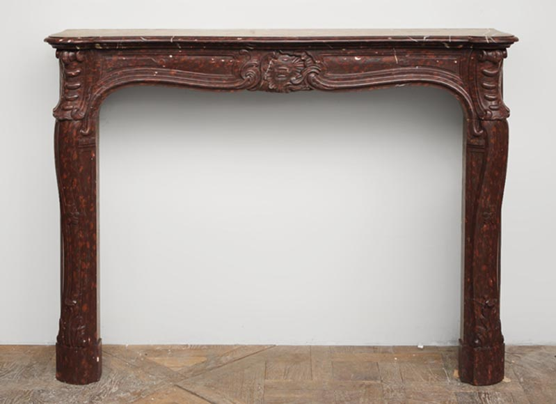 Antique Louis XV style fireplace in Red Griotte marble - Reference 2042