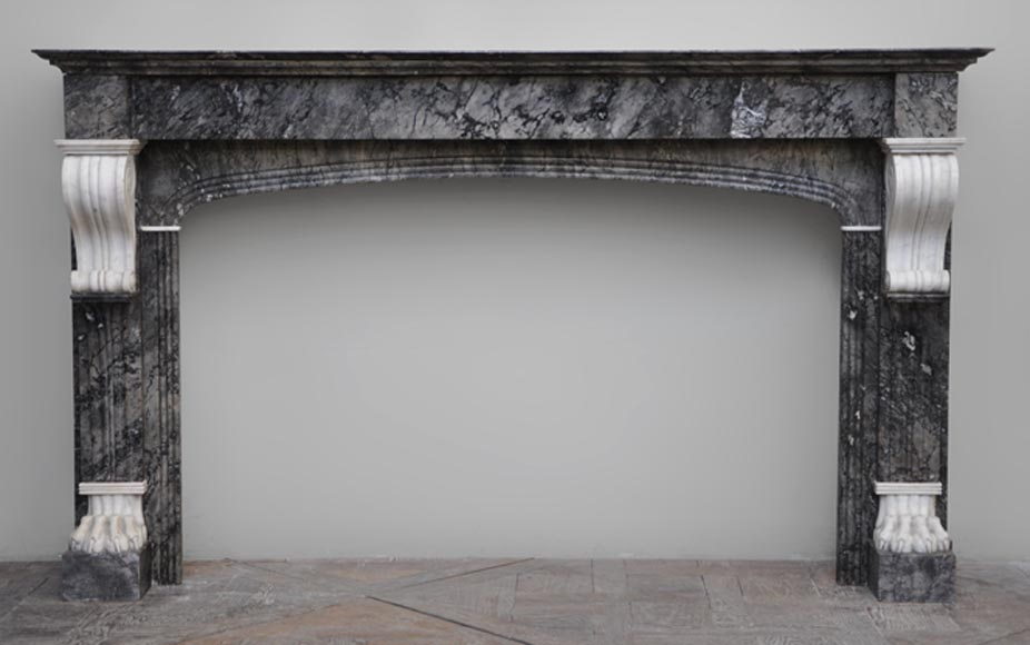 Antique fireplace in grey and Carrara marble from 1840's-0