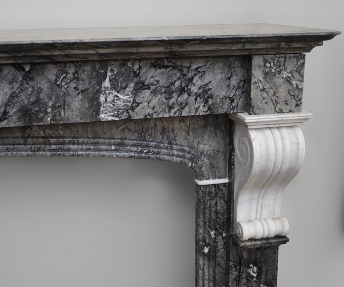 Antique fireplace in grey and Carrara marble from 1840's-1