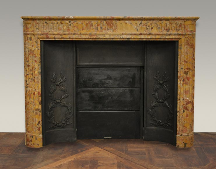 Antique Louis XVI style fireplace in Breche marble from Alep -0