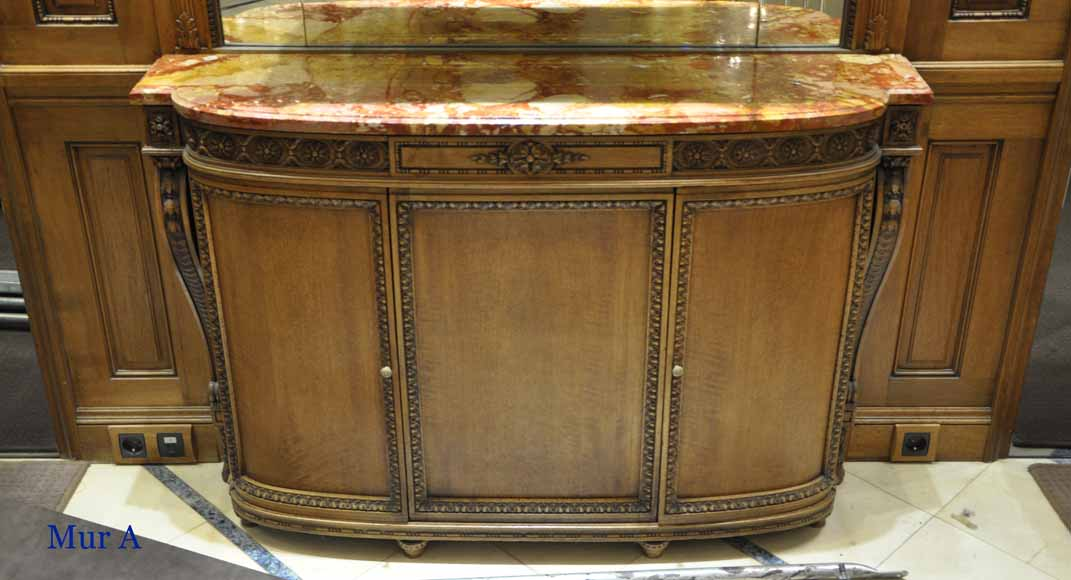 Antique walnut paneled room Louis XVI style-5