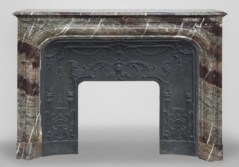 Antique Louis XIV style fireplace made out of Campan Grand Mélange marble-0