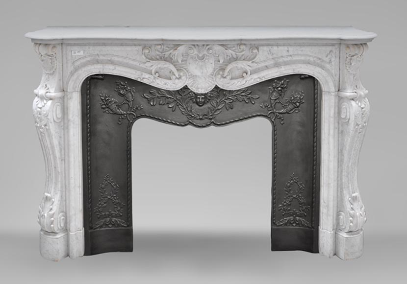 Beautiful antique Louis XV style fireplace with horn of plenty decoration - Reference 2087