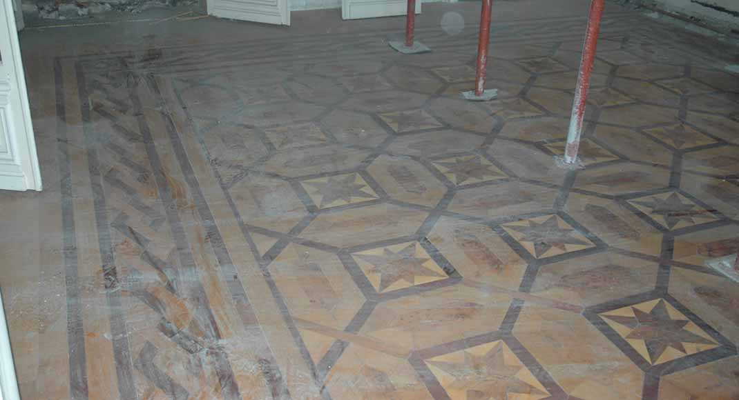 Antique parquet floor, inlaid with mahogany and sycamore-0