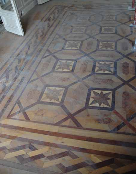 Lot of 22.5 m2 of antique mahogany inlaid parquet, burr walnut root and sycamore-1
